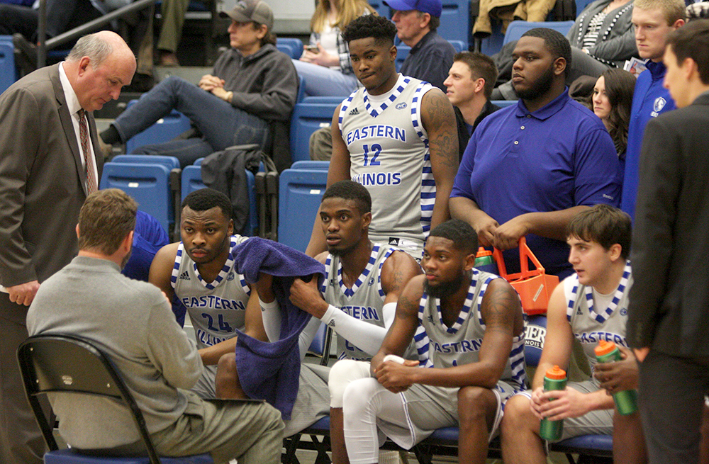 Coach Jay Spoonhour addresses the team during a timeout against Belmont Jan. 13 in Lantz Arena. The Panthers' season was an up-and-down ride, but they found a way to make the OVC Tournament.