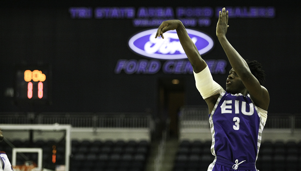 Freshman guard Mack Smith gets off a shot in the second half of the Panthers' OVC conference tournament opeing round game at the Ford Center in Evansville. The OVC Tournament will return to Evansville's Ford Center in 2019 and 2020 the OVC announced Thursday.