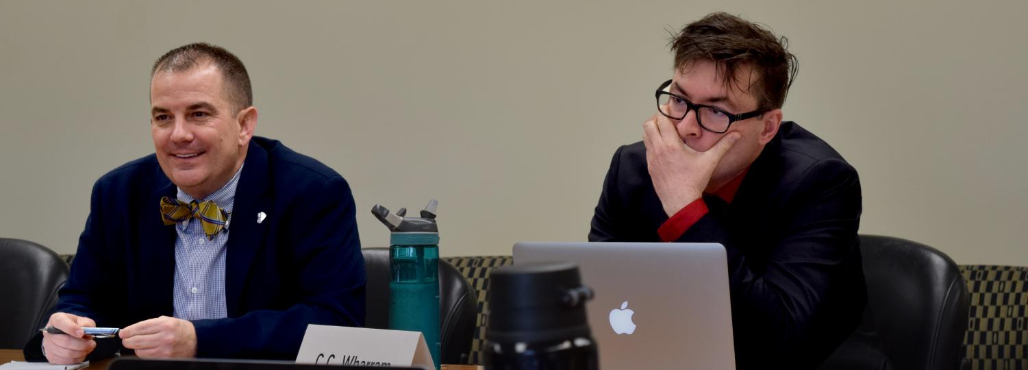Provost Jay Gatrell and C.C. Wharram, the director of the Center for Humanities, attended the Faculty Senate meeting Tuesday at Booth Library. The meeting looked at Gatrell's college reorganization plan, which was revealed on Monday.