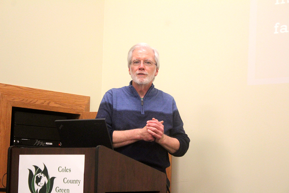 Rich Whitney, co-chair of the Illinois Green Party, talked about the benefits of free public higher education.