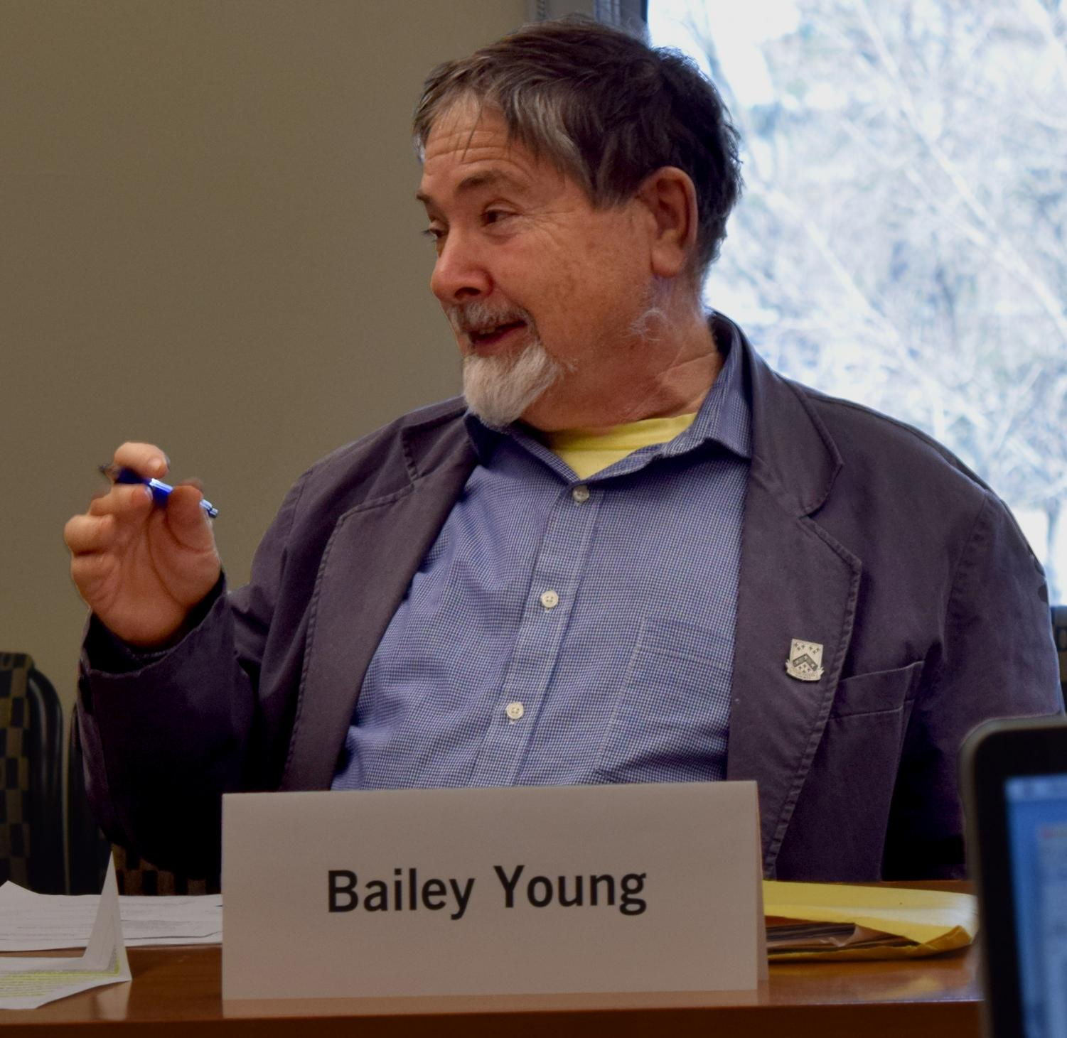 Bailey Young is a history professor and a member of the Faculty Senate. The senate decided to have one more meeting this semester on May 3 from 10:15 a.m. to 12:15 p.m.