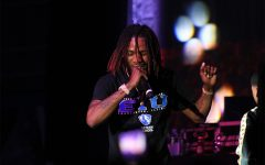 Performer Fetty Wap dances onstage during his concert on Sunday night in the Lantz Arena.