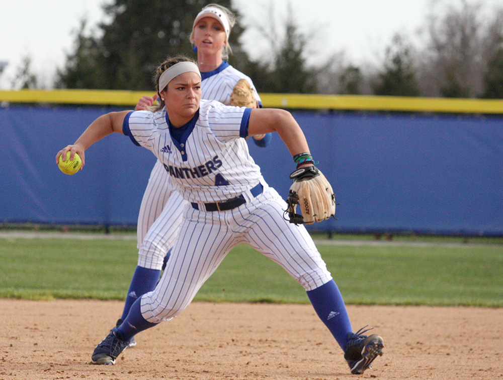 Junior Maria DeVito throws the ball to first for the out in the Eastern softball team's home opening win against Indiana State last Thursday at Williams Field. Eastern hosts Southeast Missouri Wednesday for its OVC home opener.