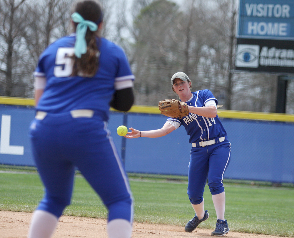 Junior Mady Poulter throws the ball over to first to Haley Mitchell for the out in Eastern's win over Tennessee Tech in game one of the doubleheader Saturday at Williams Field. The Panthers are taking a break from OVC play for a day to play Illinois on the road Wednesday.