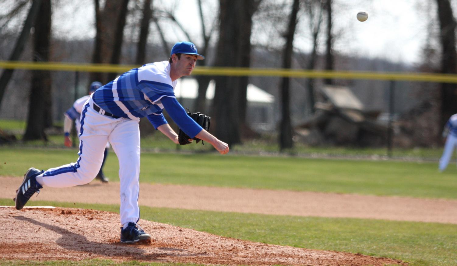 Eastern junior Tyler Jones throws a pitch in the Panthers 9-3 loss to Tennessee Tech on March 30 at Coaches Field. Jones threw six innings and gave up three runs while striking out four batters.