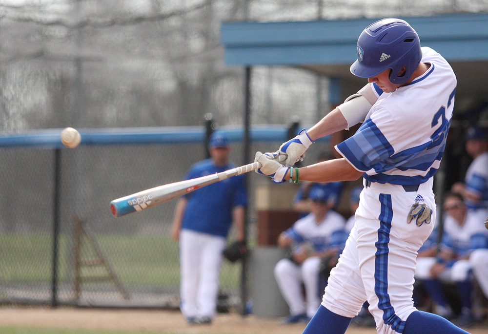 Junior Jimmy Huber hits a double off the right field wall to drive in Joe Duncan to make the score 9-0 in the second inning in Eastern's 15-6 win Wednesday at Coaches Stadium. The Panthers have a three-game series this weekend with Morehead State at home.