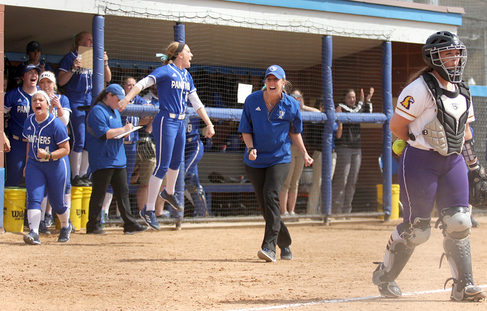 The Eastern softball team celebrates sophomore Mia Davis' walk-off hit that scored Ashley Bartlett Saturday against Tennessee Tech. The Panthers play a pair of road doubleheaders against Murray State and Austin Peay.