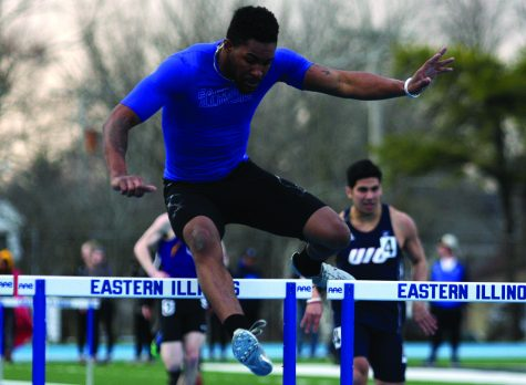 Eastern sophomore Cedric Johnson runs the 110-meter hurdles on March 30 at the EIU Big Blue classic at O'Brien Field. Johnson ran the event in 15.85 seconds and placed in 5th.