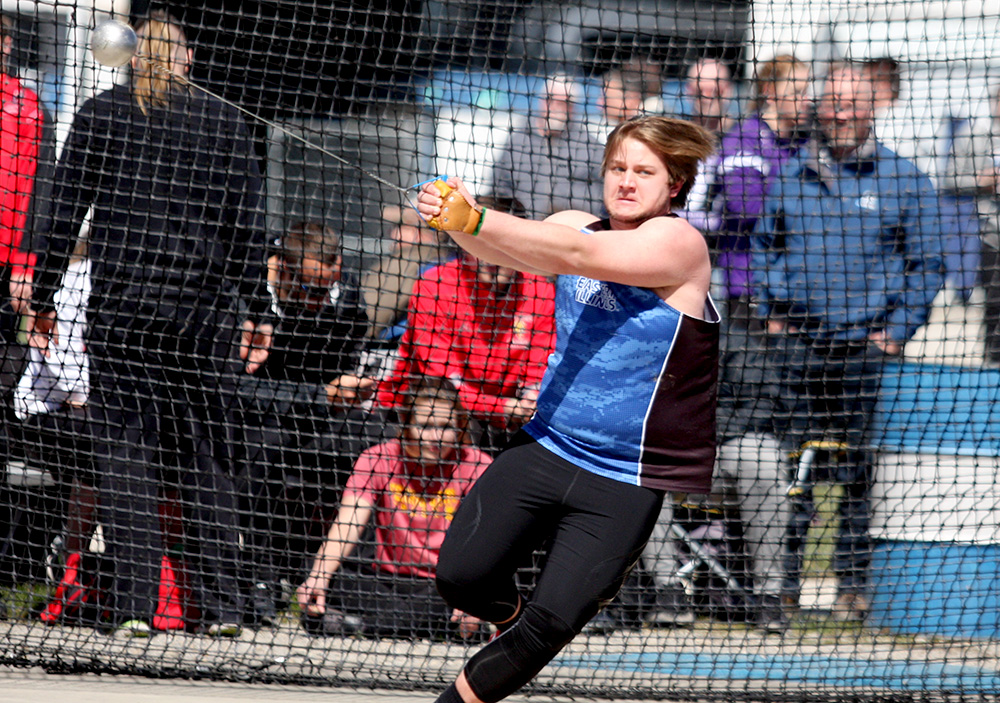 Freshman Dillon Birch competes in the men's hammer throw at the Panthers' EIU Big Blue Meet March 30 in the field behind O'Brien Field. Eastern will have a split squad meet at the Drake Relays and the Louisville Twilight.