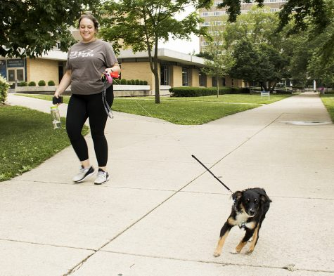 "Kyrsten Holderby, a senior biological sciences major, walks her dog Winnie, Tuesday afternoon near Thomas Hall. ""Trying to get her some exercise, because she is a little crazy when she's not tired,"" Holderby said."