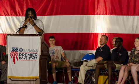 """Zhyon Parkman, from Peoria, was elected the 2018 Boys State Governor Thursday during the 83rd American Legion Boys State general assembly. During his speech he called his mom to let her know the good news and to thank her for letting him attend.  After saying """"I love you"""" to his mom, Parkman looked to the audience and said """"I love you guys, you're all my brothers now."""""""