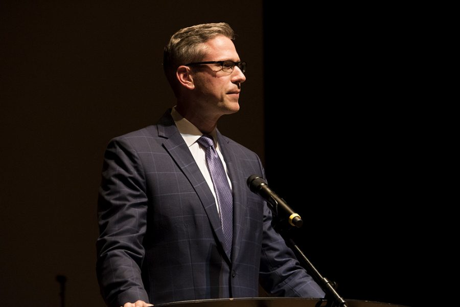 Illinois+State+Treasurer%C2%A0Michael+Frerichs%2C+delivers+a+speech+at+the+American+Legion+Auxiliary+Girls+State%2C+Friday+night+in+the+Doudna+Fine+Arts+Center.