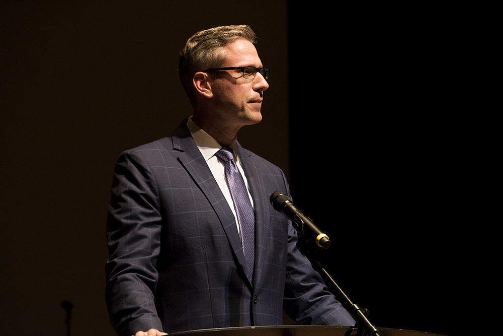 Illinois Treasurer Michael Frerichs, delivers a speech at the American Legion Auxiliary Girls State Friday night in the Doudna Fine Arts Center.