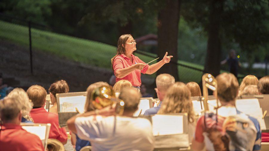 The Charleston Community Band performs, Thursday night at Kiwanis Park.