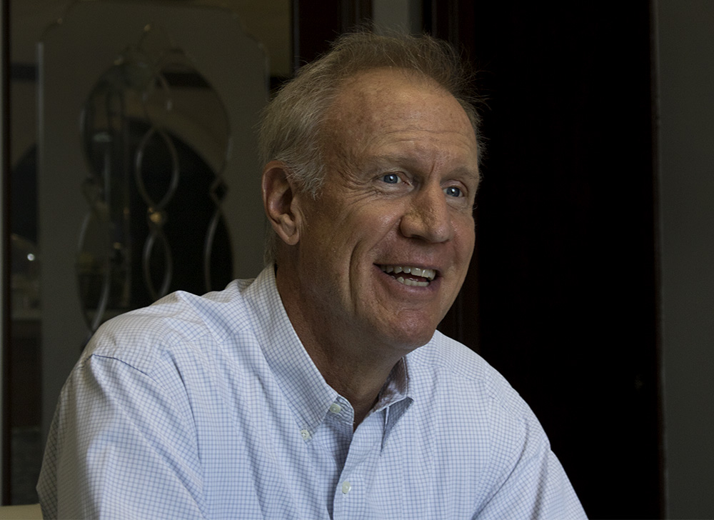 Gov. Bruce Rauner explained his stance on the U.S. Supreme Court Janus decision Monday before speaking with Charleston area business owners at Unique Suites Hotel.