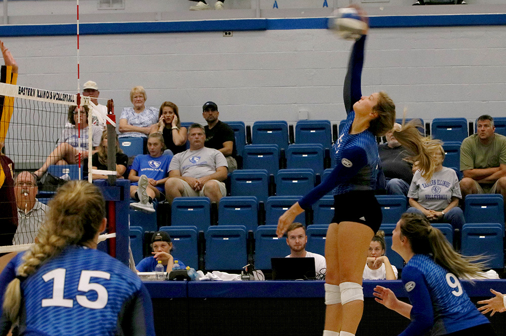 Eastern junior Katie Sommer returns a ball in the Panthers' 3-1 win over Iona Sunday at Lantz Arena. Sommer had three spikes and five kills in the match.