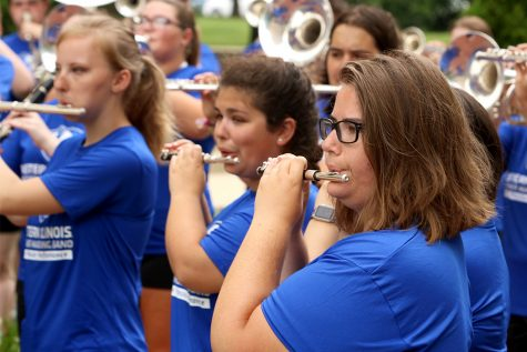 The Panther Marching Band performs for new students on move in day Aug. 16 outside of Andrews Hall.