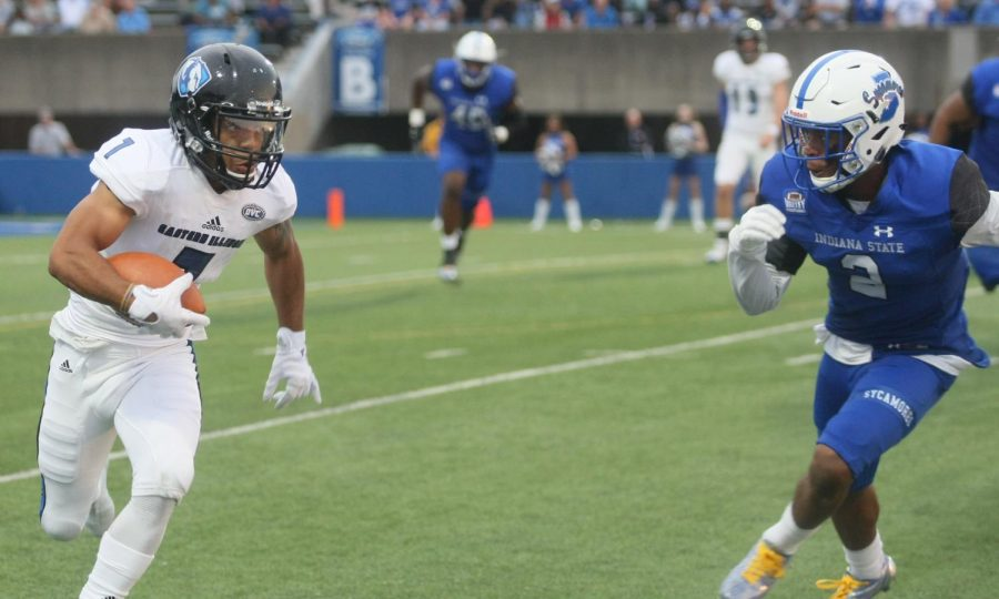 Eastern senior receiver Aaron Gooch runs from an Indiana State defender in a 22-20 Eastern win on the road last season. Gooch, along with Alexander Hollins, will be tasked with navigating Arkansas' secondary this Saturday.
