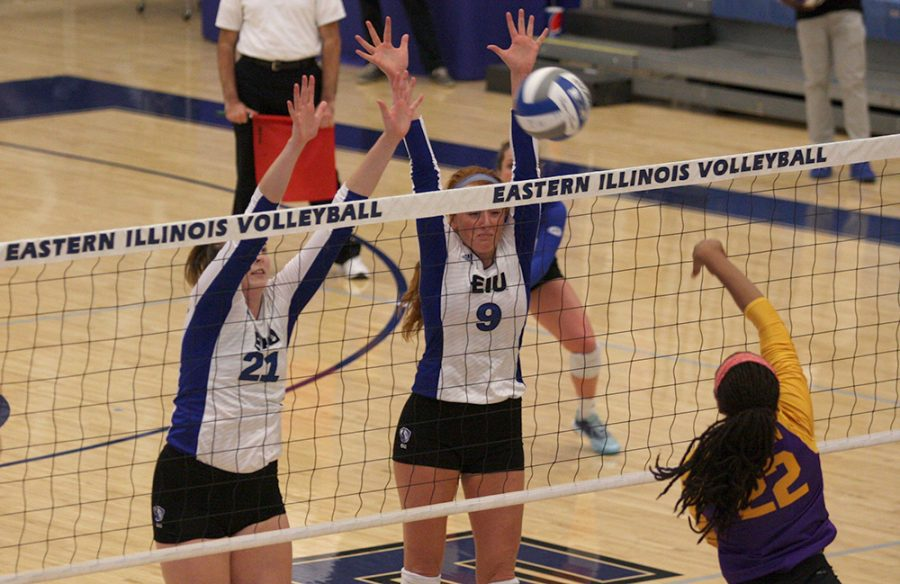 File+Photo+%7C+The+Daily+Eastern+News%0AEastern+junior+Lexi+May+%2821%29+and+graduate+Allie+Hueston+try+to+block+a+ball+in+a+match+against+Western+Illinois+at+Lantz+Arena+last+season.+May+has+14+spikes+already+this+season.
