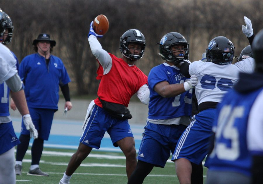Eastern transfer quarterback Johnathan Brantley throws a ball in spring practice last year at O'Brien Field. Brantley is one of two frontrunners for the starting quarterback job.