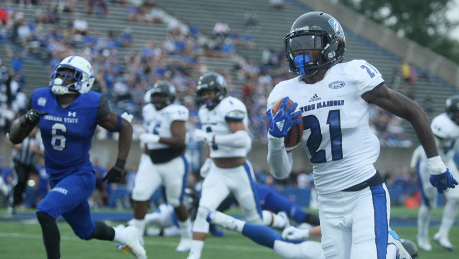 Redshirt-sophomore defensive back Mark Williams returns an interception for a touchdown in Eastern's 22-20 season opening win over Indiana State last season. Williams is one of three preseason all-conference selections for Eastern, the only one on defense.