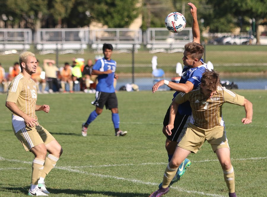 Eastern redshirt-junior Christian Sosnowski heads a ball away from a Saint Francis player in a 1-0 Eastern win last season at Lakeside Field. Sosnowski is a key returner for an Eastern team that welcomes a lot of freshman to the roster.
