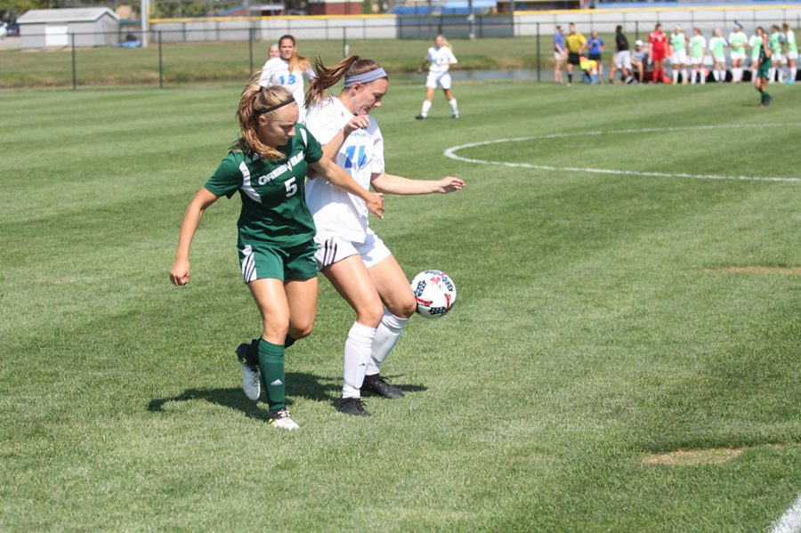 Senior defender Kayla Stolfa blocks a Green Bay attacker from getting to the ball during Eastern's 1-0 victory over Green Bay at Lakeside Field in August of 2017. Green Bay defeated Eastern 3-2 on Aug. 26, scoring three goals in the second half to earn the comeback win.