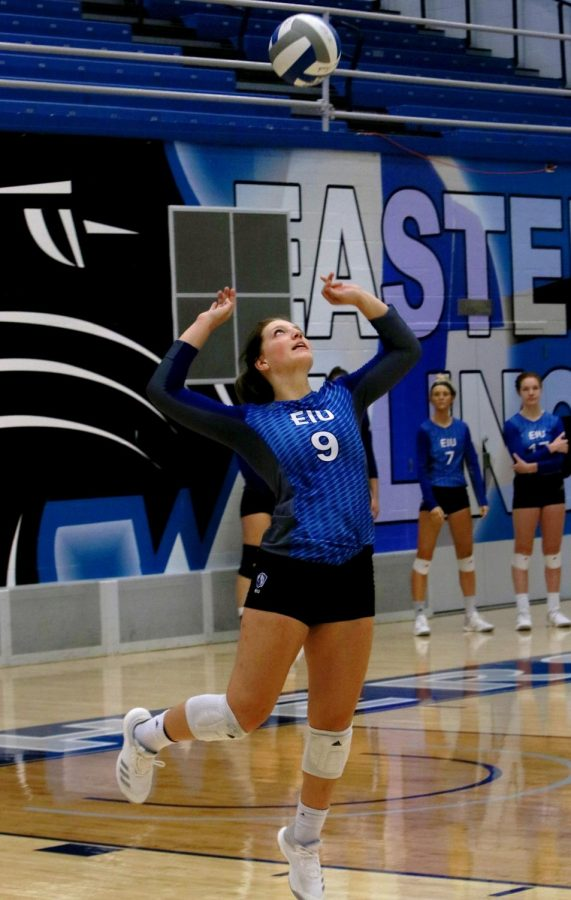 Freshman+Bailey+Chandler+serves+the+ball+during+a+match+against+Iona+College+Sunday+afternoon+in+Lantz+Arena.+The+Panthers+won+the+match+3-1.