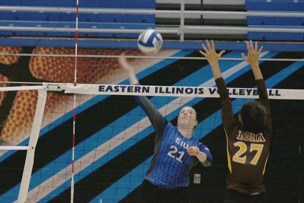 Eastern junior Lexi May serves a ball in Eastern's match against Iona this season in Lantz Arena. Eastern is 3-8 this year.