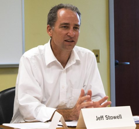 Jeff Stowell is a psychology professor and the vice chair of faculty senate. Stowell led the shared governance discussion at the senate's meeting Tuesday in Booth Library.