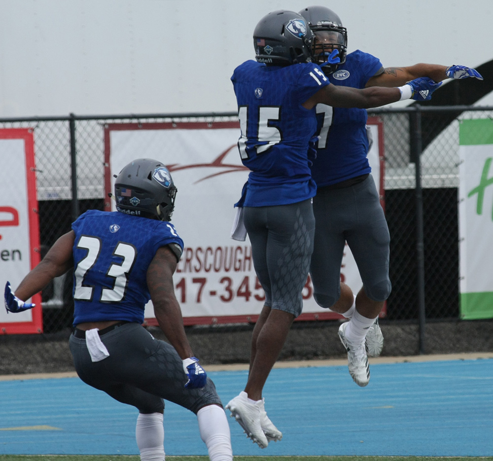 Eastern wide receiver Aaron Gooch (7) and Alexander Hollins (15) celebrate a touchdown socred by Gooch in the Panthers 41-40 to Tennesse State on Saturday. Too have more moments like this the rest of the season, the team has to begin to play better.