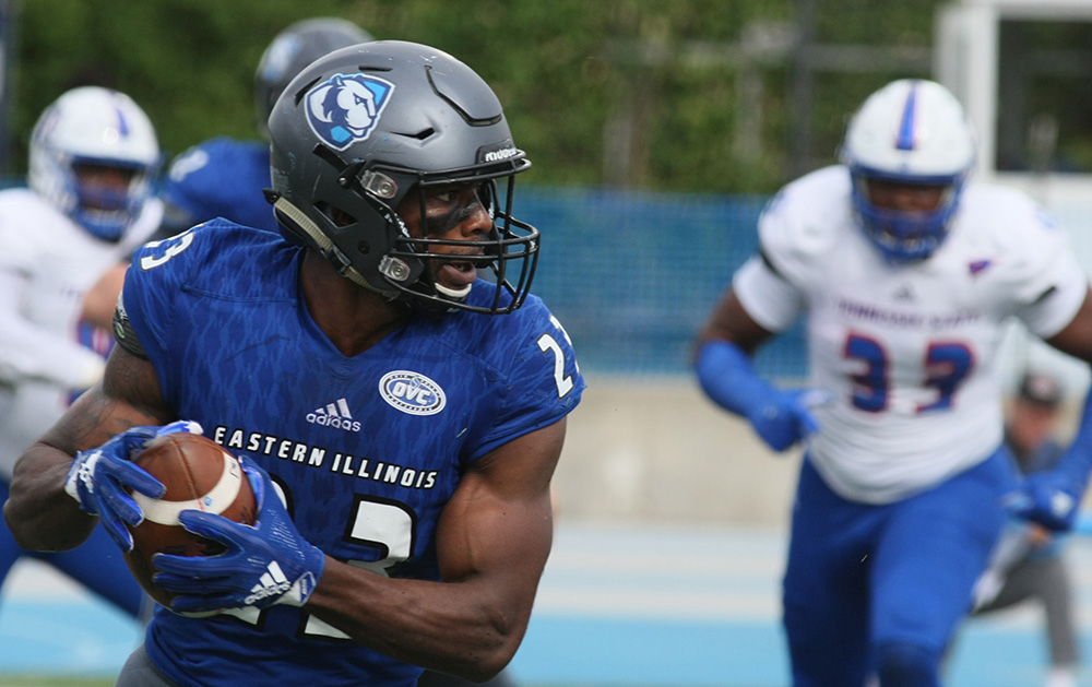 Eastern running back Isaiah Johnson moves up the field in the Panthers 41-40 loss to Tennessee State Saturday at O'Brien Field. The Panthers fell to 0-4 with the loss.