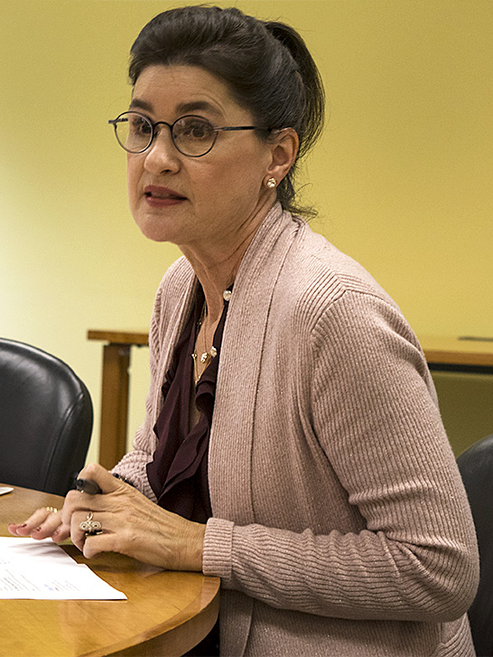 Jeanne Lord, the dean of the College of Health and Human Services, at the Council of Academic Affairs meeting Thursday in Booth Library. She went to the CAA meeting to discuss Passport to Diversity courses.