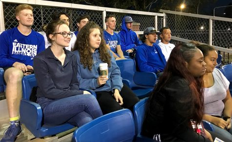 Eastern students watch the softball game Thursday night at the baseball field.