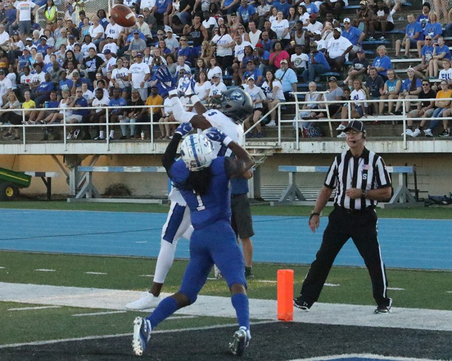 Eastern wide reciever Alexander Hollins elevates to grab a touchdown pass in a 55-41 loss to Indiana State at O'Brien Field. Hollins leads the OVC in receiving yards and touchdowns.