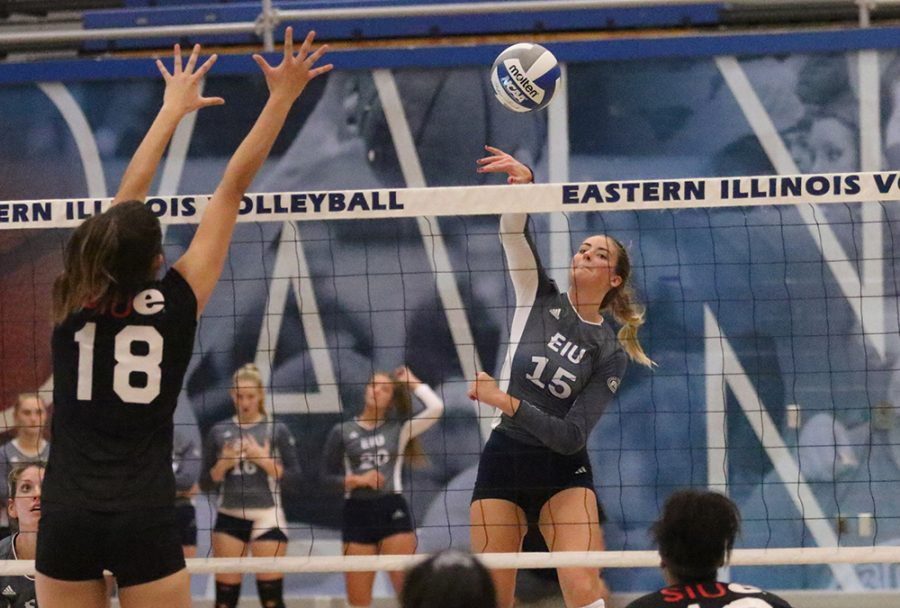 Eastern sophomore Laurel Bailey hits a ball at Lantz Arena on Wednesday night. Bailey helped the Panthers sweep Southern Illinois Edwardsville 3-0.