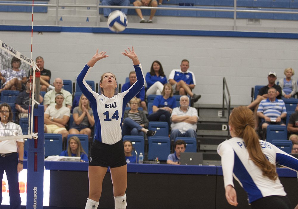 Eastern redshirt-junior Gina Furlin hits a ball in a match last season at Lantz Arena. The Eastern volleyball team is 4-10 this season.