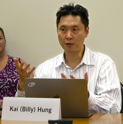 Billy Hung is a member of the Faculty Senate and a biological sciences professor. The senate looked at Unit B faculty participation in Faculty Senate and the possible combination of APERC and STHC.
