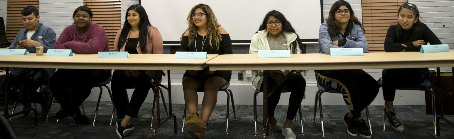 Student panelists discuss 'What is Latinx?' Thursday in the Charleston/Mattoon room of the Martin Luther King Jr. Union. Latinx is a gender-neutral term for Latino or Latina.