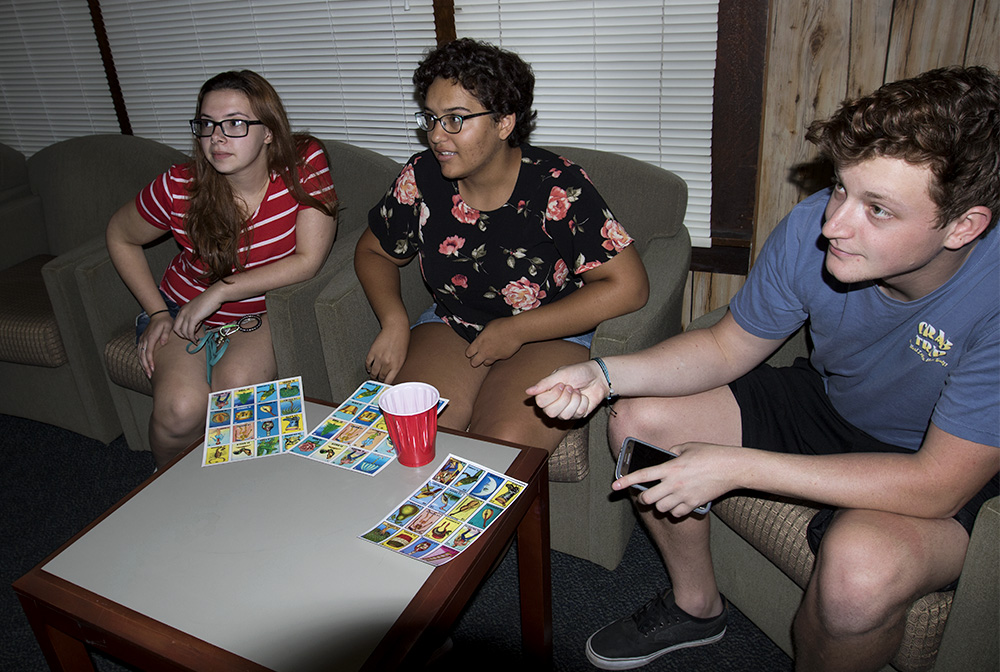 "Students play Loteria during ""Loteria and Game Night"" Monday night at the Cultural House. Loteria is a game similar to bingo, except instead of numbers on ping pong balls there are images on a card."