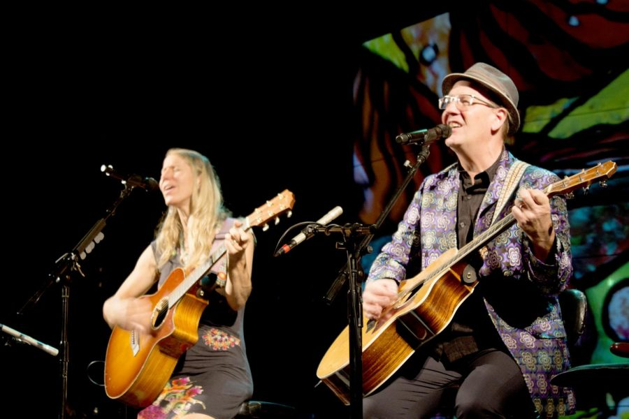 "Bruce Hecksel performs with Julie Patchouli Thursday night at ""The Landscape of Guitar"" in the Doudna Fine Arts Center Recital Hall. ""We were warming up to this song (Sounds of Silence) and our tour manager came in and said 'you should play that tonight.' We looked at each other and then at him and said 'it isn't on the approved play list.' Our tour manager said 'I don't care, you should play it.' So we went out there and played the song and we were only four words in when the entire place erupted in cheers,"" Patchouli said."