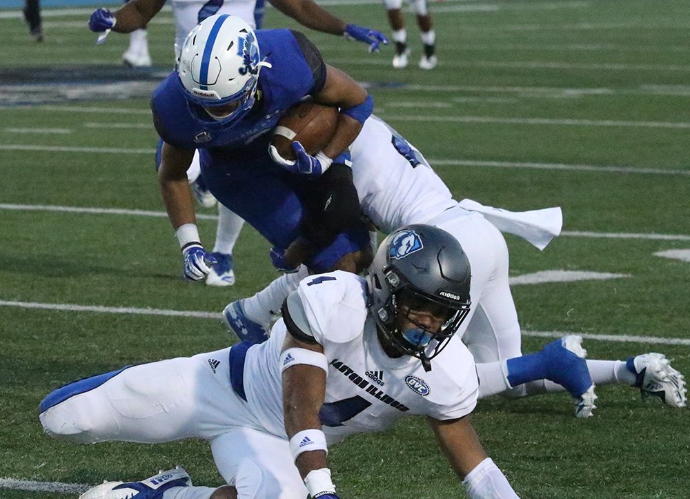 Eastern cornerback Mark Williams brings down an Indiana State ball carrier in a 55-41 loss to the Sycamores in week three. Williams did not play last week against Tennessee Tech, he hopes to be healthy Saturday against Murray State.