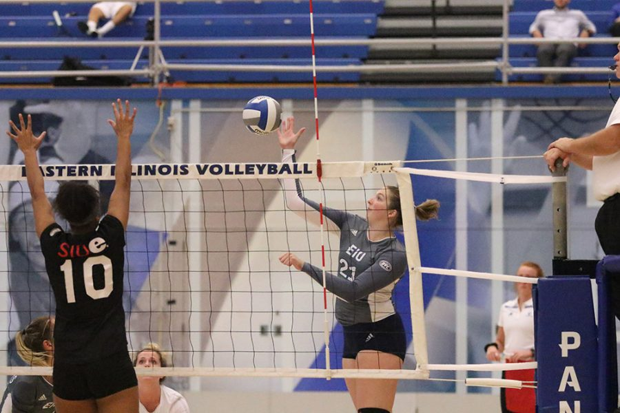 Eastern junior Lexi May hits a ball over the net in Eastern's 3-0 sweep of Southern Illinois Edwardsville at Lantz Arena on Sept. 21. Eastern beat Jacksonville State, but fell to Tennessee Tech, both on the road this weekend.