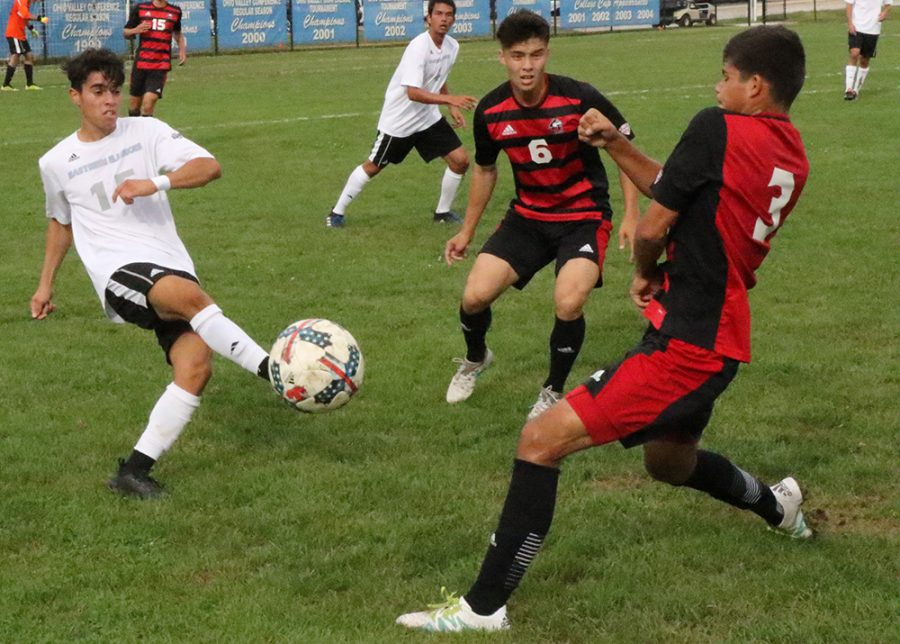Eastern redshirt-junior Zabdiel Justiniano kicks a ball in the Panthers 2-0 loss to Northern Illinois at Lakeside Field on Sept. 21. Eastern is 2-6-3 this season.