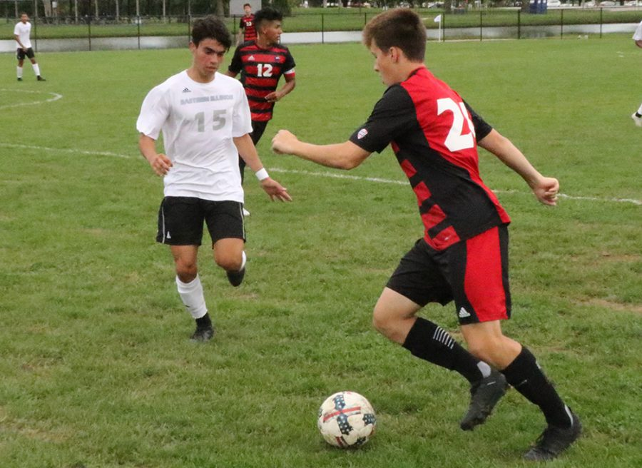 Eastern redshirt-freshman Zabdiel Justiniano defends a Northern Illinois player on Sept. 21 at Lakeside Field. The Panthers lost that game 2-0, they are 2-5-3 overall this season.