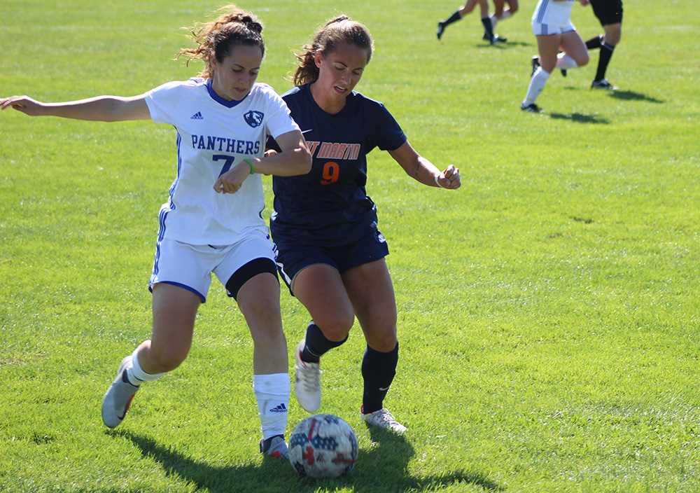 Eastern sophomore Itxaso Aguero battles for a ball with a Tennessee-Martin in a 0-0 draw at Lakeside Field on Sept. 30. The Panthers hold a 4-6-4 record this season.