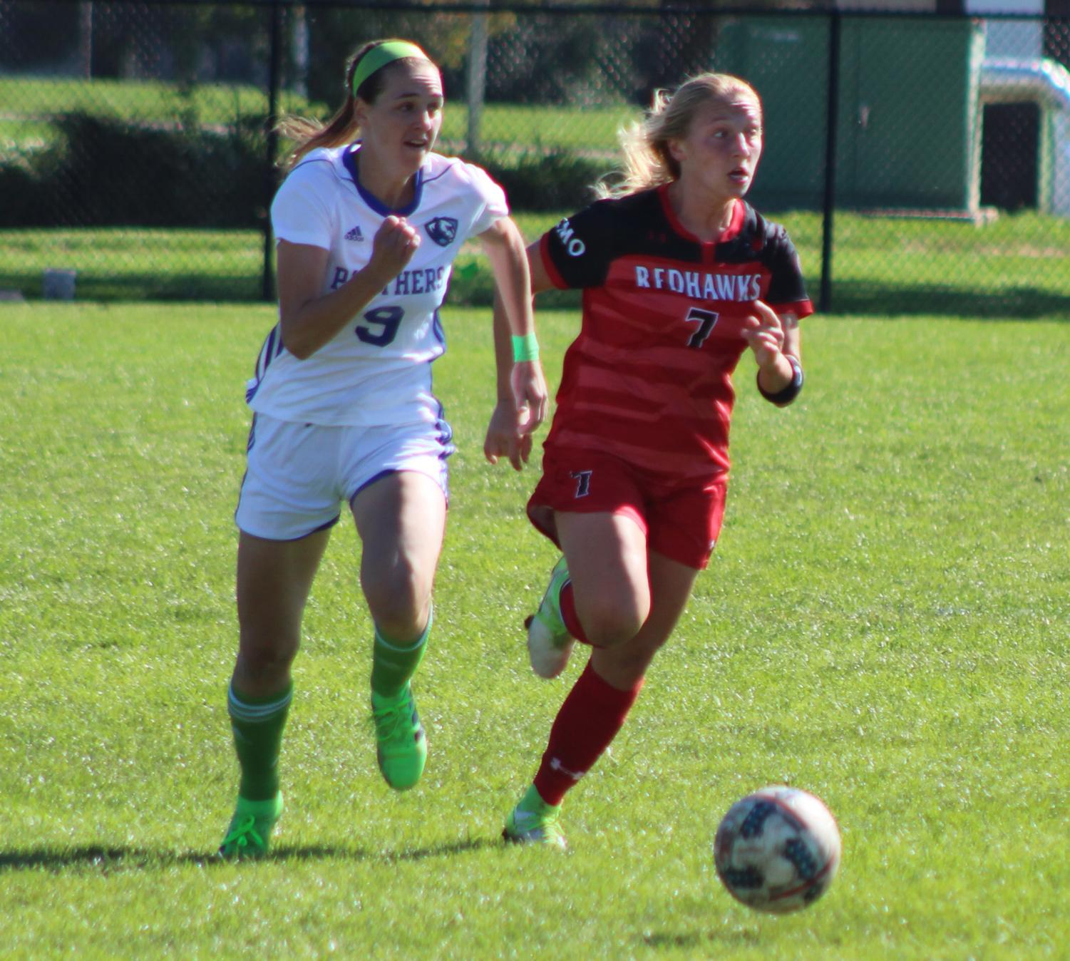 Eastern junior Sarah DeWolf pushes the ball upfield against Southeast Missouri on Oct. 11 at Lakeside Field. The Panthers lost the match 1-0 in overtime.