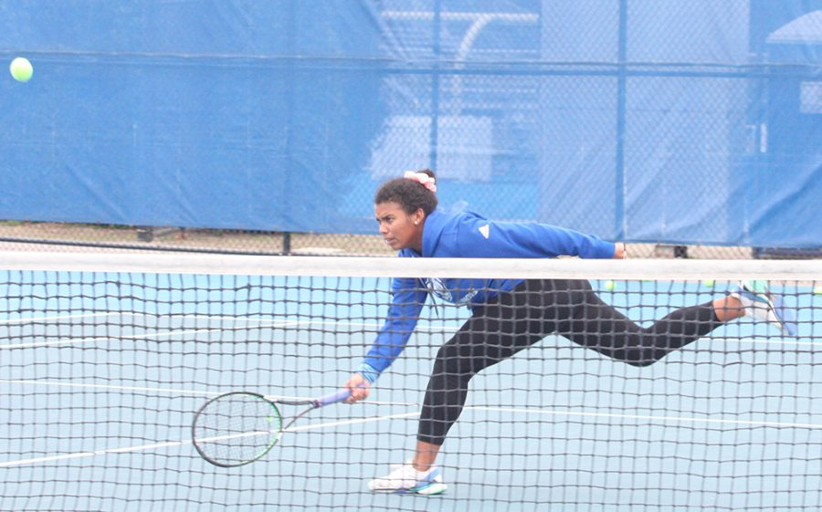 Eastern sophomore Karla Contreas returns a ball in practice at the Darling Courts on Monday. The women's tennis team will compete in the ITA Regionals in Ann Arbor, Mi. beginning on Wednesday.