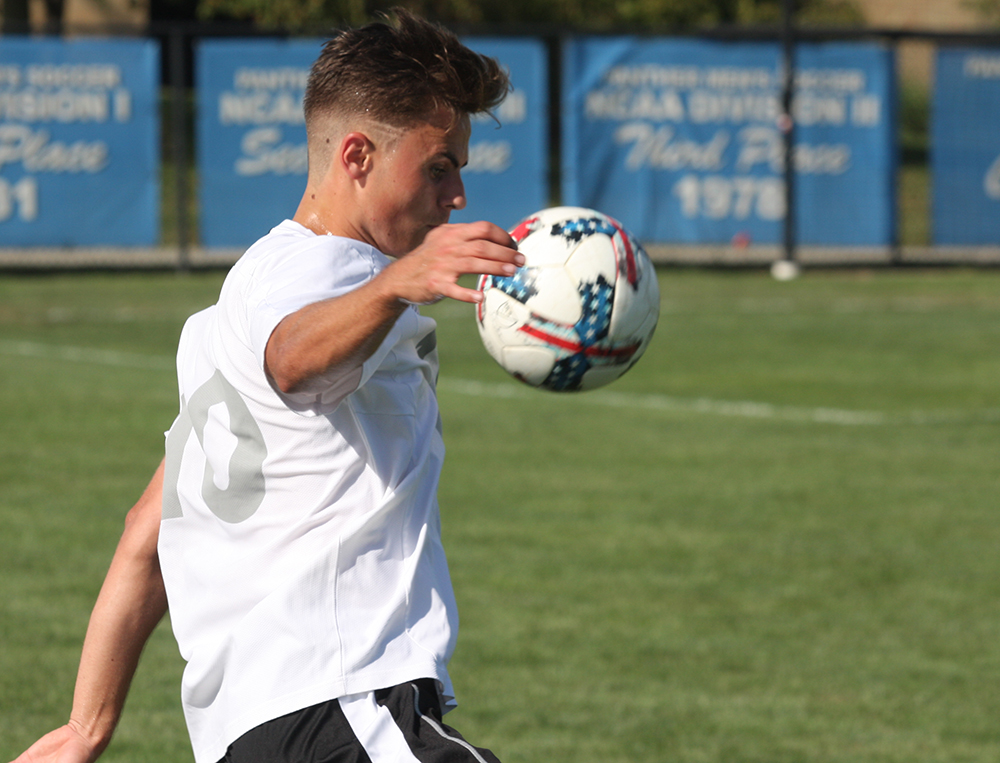 Christian Sosnowski settles the ball during Eastern's 1-1 tie with Evansville at Lakeside Field on Aug. 31. Sosnowski leads Eastern with three goals this season.