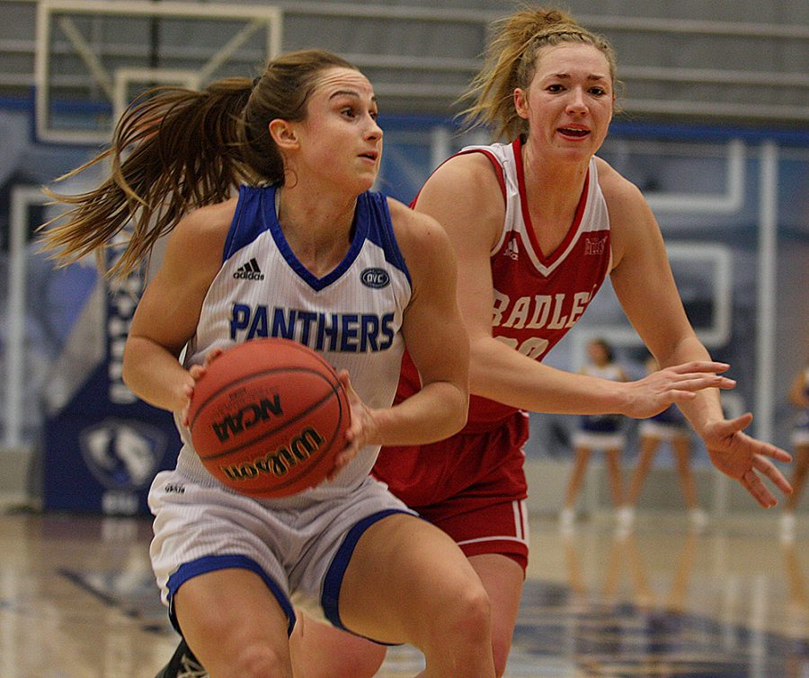 Grace Lennox cuts into the lane in a game last season against Bradley during her senior season. Lennox got hurt and redshirted, and will return to the Panthers for a fifth year as the team's top player.